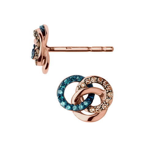 Treasured Rose Gold & Diamond Earrings, ${color}