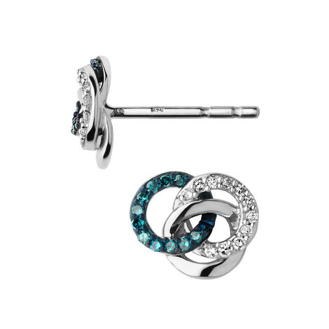 Treasured Silver & Diamond Stud Earrings, ${color}