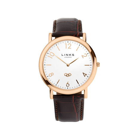 Noble Slim Leather Watch, ${color}