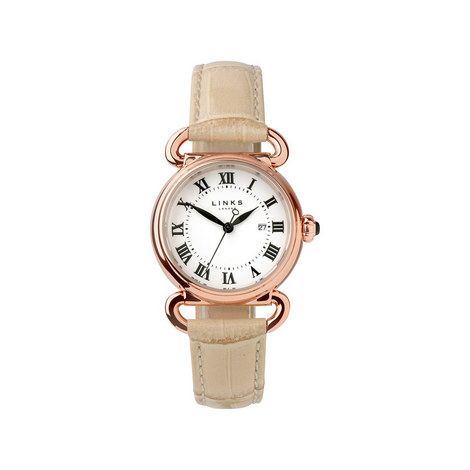 Driver Round Leather Watch, ${color}