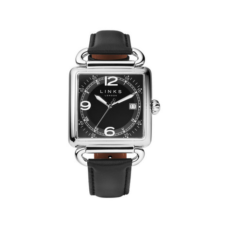 Driver Square Leather Watch, ${color}