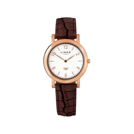Noble L Rose Gold Plate & Leather Watch, ${color}