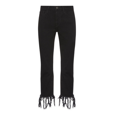 Fringed Cropped Jeans, ${color}