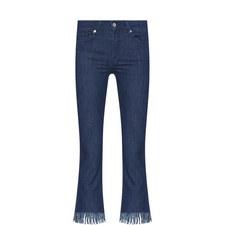 Aged Frayed Fringe Cropped Jeans