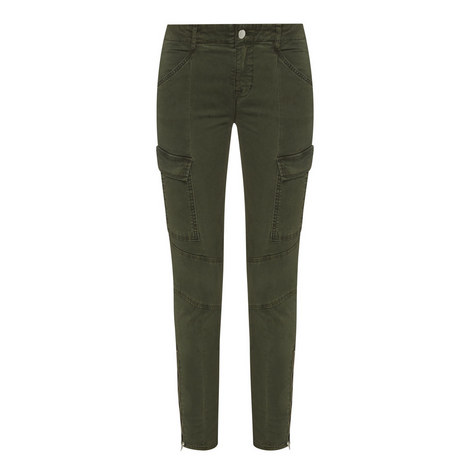 Zipped Hem Cargo Jeans, ${color}