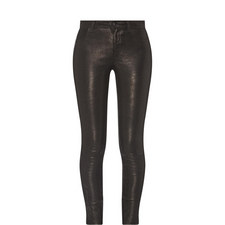 Leather Mid-Rise Skinny Jeans