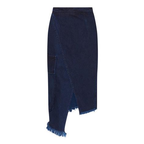 Crossover Denim Pencil Skirt, ${color}