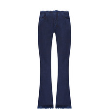 Frayed Flared Capri Jeans
