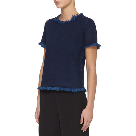 Short Sleeve Denim Top, ${color}