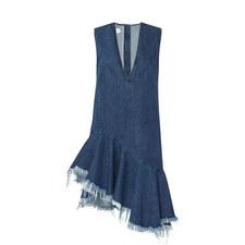 Asymmetric Raw Hem Denim Dress