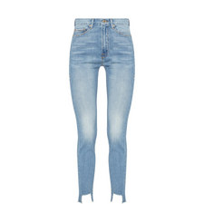 Crop Tunnel Hem Skinny Jeans